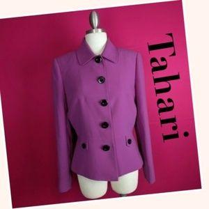 Tahari ASL Purple Blazer Jacket
